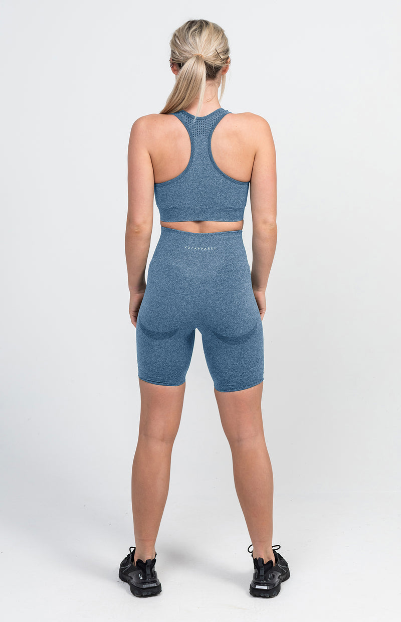 Uplift Seamless Shorts + Sports Bra - Navy Marl
