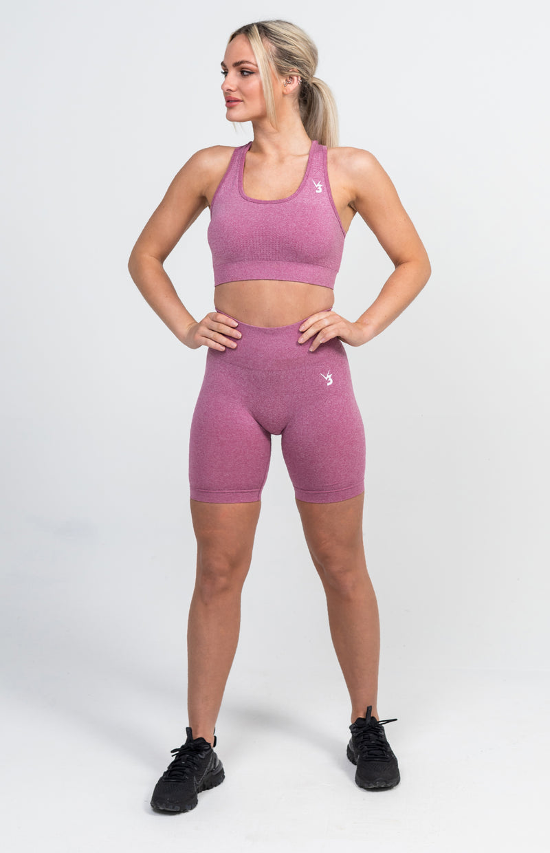 Uplift Seamless Shorts + Sports Bra - Pink Marl