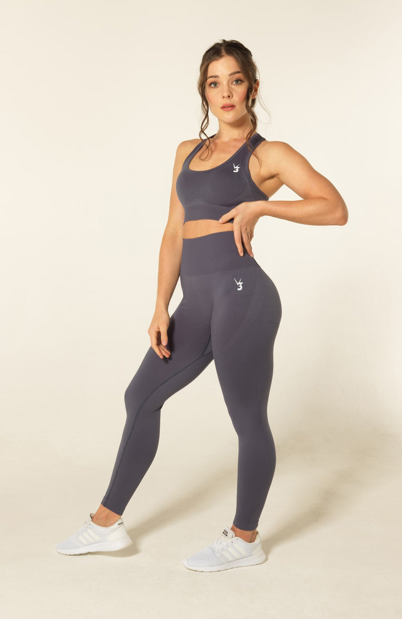 V3 Apparel womens seamless squat proof leggings and fitness training sports bra set curve grey