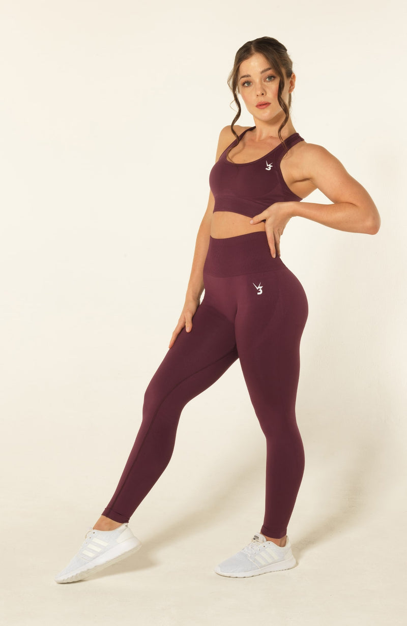 V3 Apparel womens seamless squat proof leggings and fitness training sports bra set curve plum