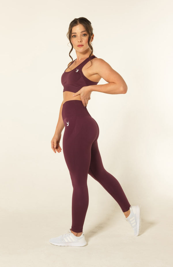 V3 Apparel womens seamless squat proof leggings and fitness sports bra set curve purple