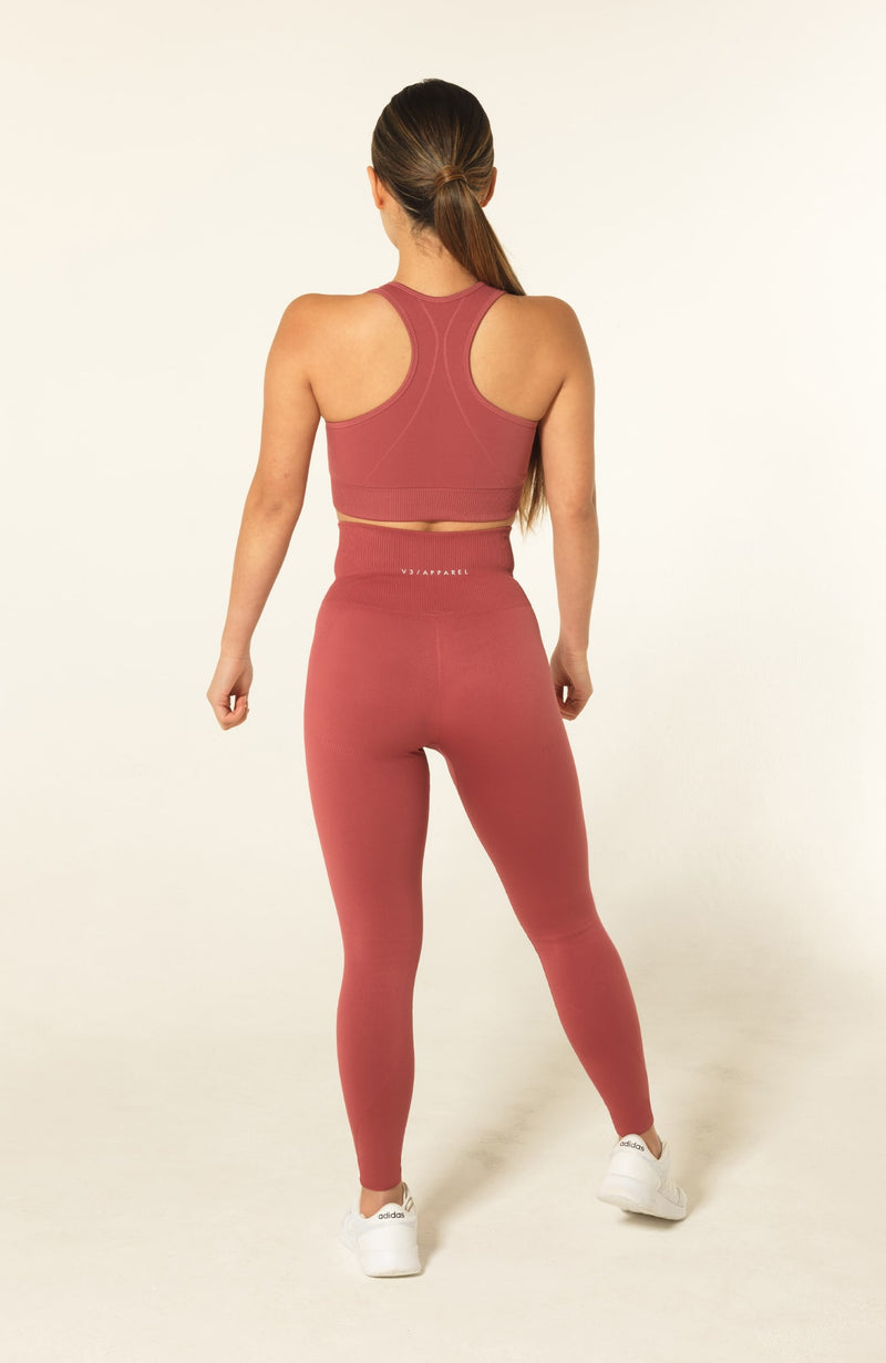 V3 Apparel womens seamless squat proof leggings and fitness gymsports bra set curve rose