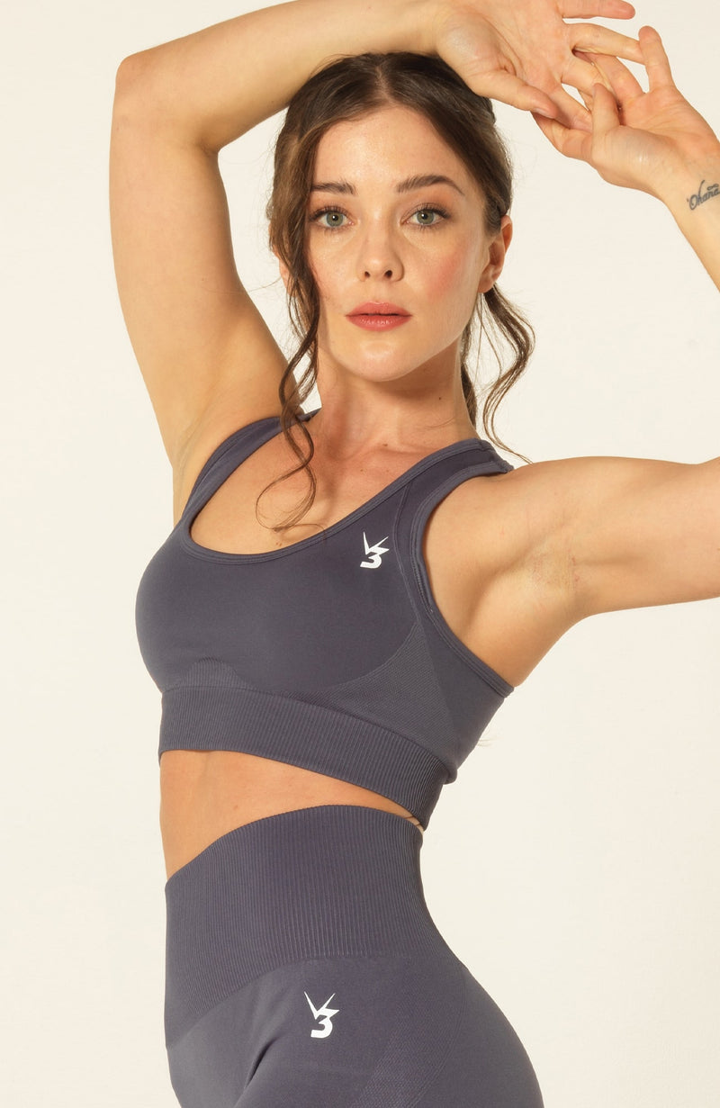 V3 Apparel Womens seamless training sports bra with removable padding medium training support curve grey