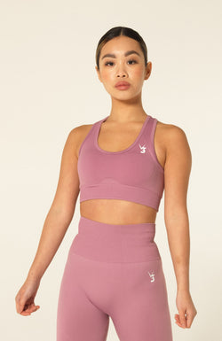 V3 Apparel Womens seamless training sports bra with removable padding medium fitness support curve pink