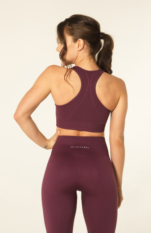 V3 Apparel Womens seamless training sports bra with removable padding medium fitness support curve plum