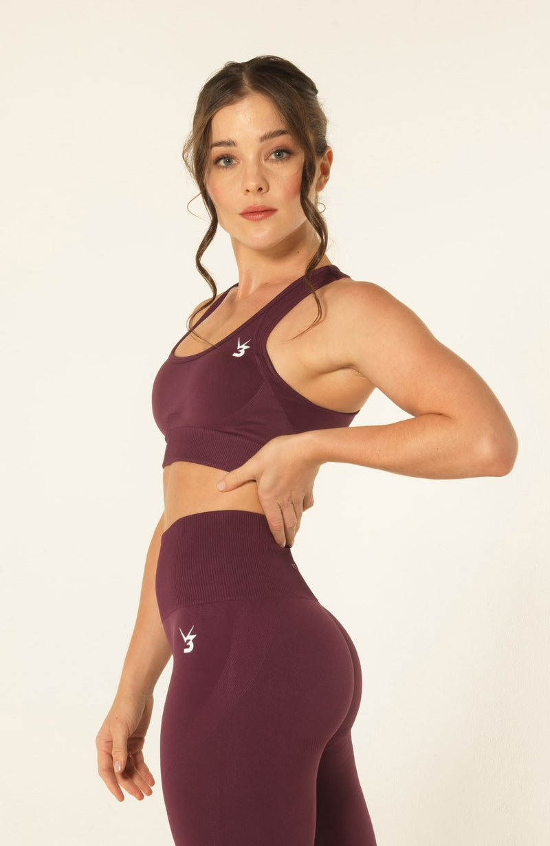 V3 Apparel Womens seamless training sports bra with removable padding medium fitness gym support curve plum
