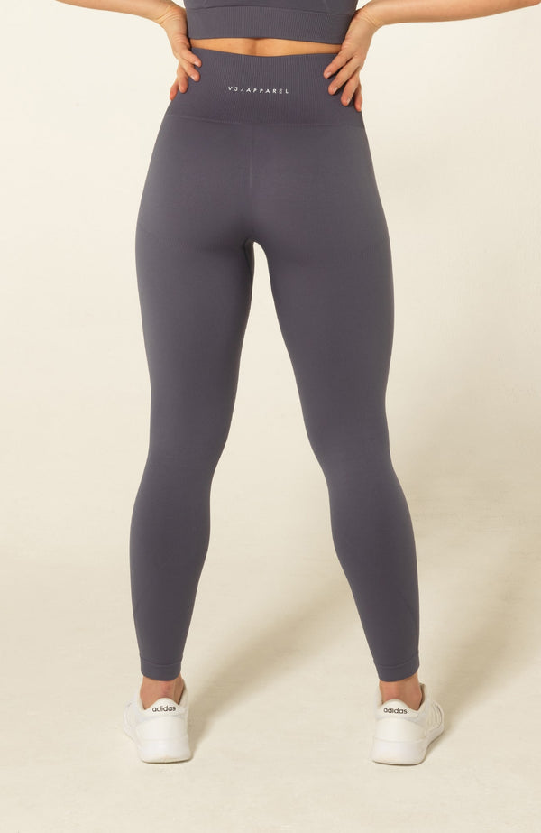 V3 Apparel Womens seamless squat proof fitness gym leggings curve grey