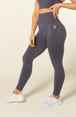 V3 Apparel Womens seamless squat proof fitness workout leggings curve grey