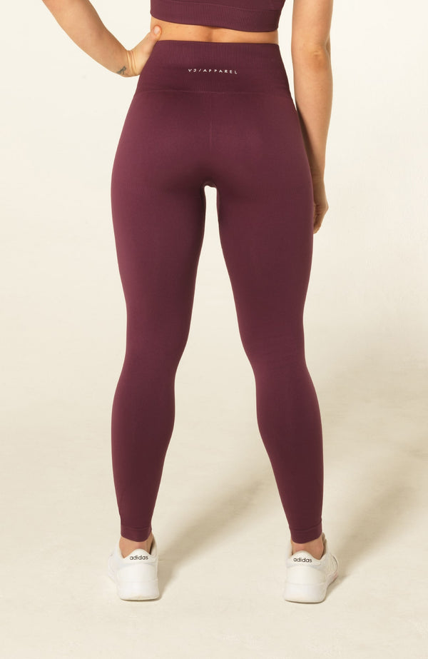 V3 Apparel Womens seamless squat proof fitness workout tights curve plum