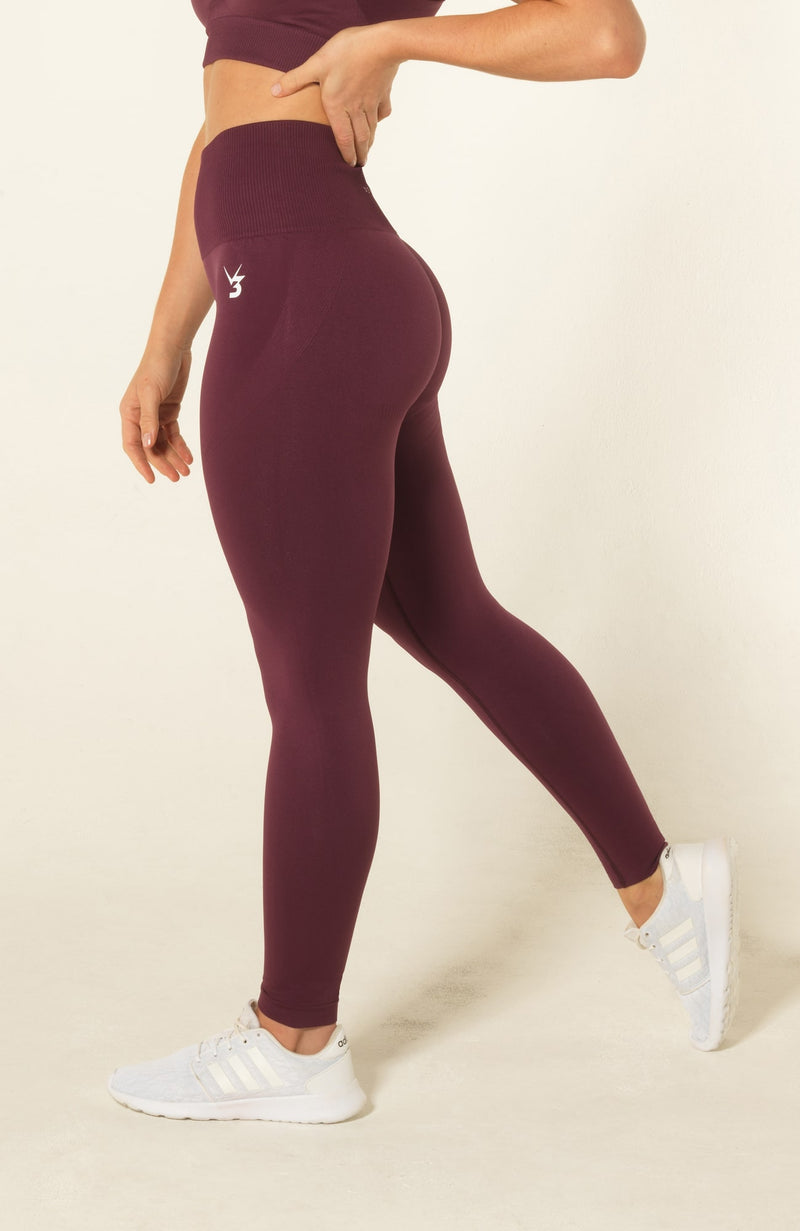 V3 Apparel Womens seamless squat proof fitness gym leggings curve plum