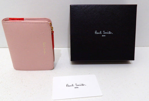 Paul Smith, Porte-cartes / monnaie, compact en cuir gaufré rose