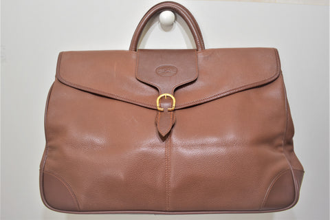 Longchamp, Sac week-end en cuir marron caramel