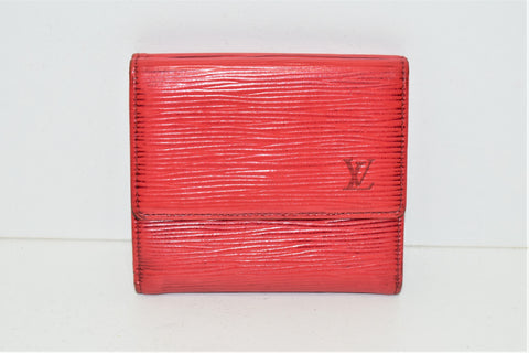 Louis Vuitton, Porte-cartes ELISE en cuir épi rouge