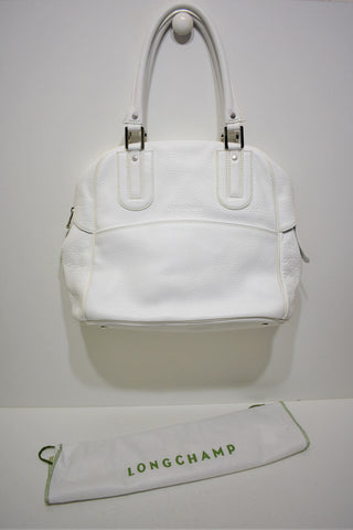 "Longchamp, Sac à main "" COSMOS "" MM, en cuir grainé Blanc"