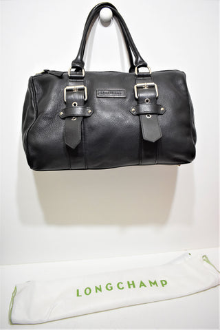 Longchamp, Sac Kate Moss, boston, en cuir noir