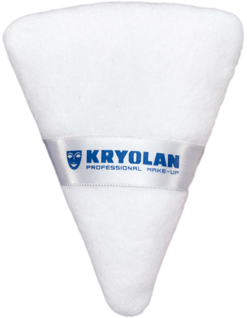 Kryolan Triangular Powder Puff - White - 7.5cm x 9.5cm, Powder Puffs, Kryolan, Titanic FX, Titanic FX Store, Prosthetic, Makeup, MUA, SFX, FX Makeup, Belfast, UK, Europe, Northern Ireland, NI