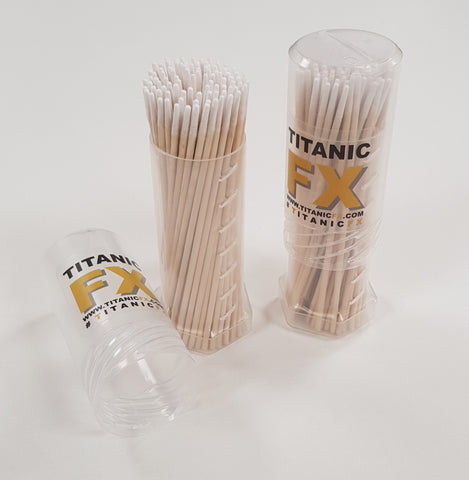 90 Super Fine Bamboo Q-tips in Mini Twist Tube, , Titanic FX, Titanic FX, Titanic FX Store, Prosthetic, Makeup, MUA, SFX, FX Makeup, Belfast, UK, Europe, Northern Ireland, NI