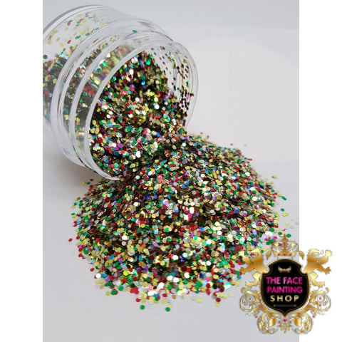 'Christmas Mix' Chunky Glitter - The Facepainting Shop, Glitter, The Facepainting Shop, Titanic FX, Titanic FX Store, Prosthetic, Makeup, MUA, SFX, FX Makeup, Belfast, UK, Europe, Northern Ireland, NI