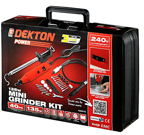 Dekton Power | 240V 135W Mini Grinder Kit - 40 Piece