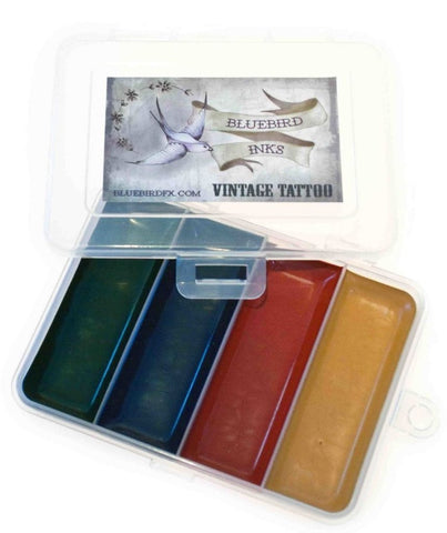 BluebirdFX Vintage Tattoo (4 Colour Palette), Paints, Titanic FX, Titanic FX, Titanic FX Store, Prosthetic, Makeup, MUA, SFX, FX Makeup, Belfast, UK, Europe, Northern Ireland, NI