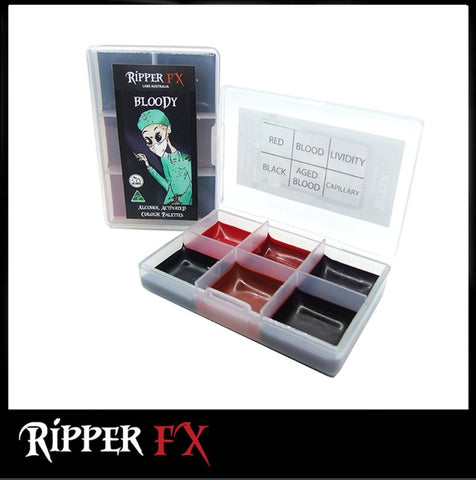 Ripper FX - 'Bloody' Mini Pocket Alcohol Palette, Paints, Ripper FX, Titanic FX, Titanic FX Store, Prosthetic, Makeup, MUA, SFX, FX Makeup, Belfast, UK, Europe, Northern Ireland, NI