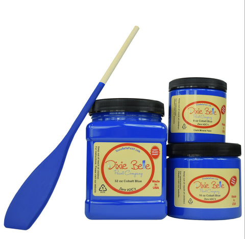Dixie Belle Paint | Cobalt Blue | Bright Blue Chalk Mineral Paint | 8oz, 16oz, 32oz