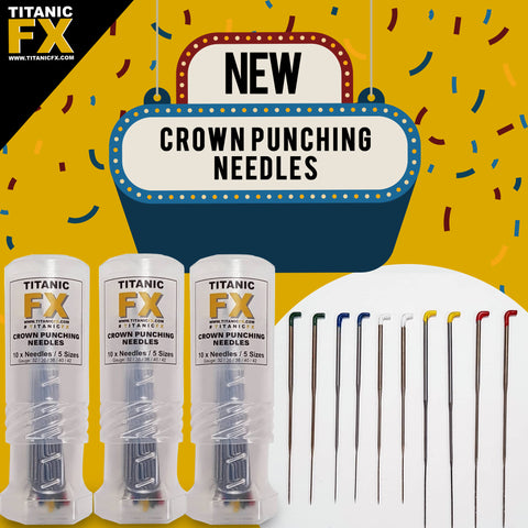 NEW Titanic FX Crown Punching Needles with Mini Twist up Protector Tube (10 needles / 5 sizes), , Makeup FX, Titanic FX Store, Titanic FX Store, Prosthetic, Makeup, MUA, SFX, FX Makeup, Belfast, UK, Europe, Northern Ireland, NI