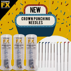 NEW Titanic FX Crown Punching Needles with Mini Twist up Protector Tube (10 needles / 5 sizes)