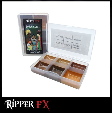 Ripper FX - 'Dark Flesh' Mini Pocket Alcohol Palette, Paints, Ripper FX, Titanic FX, Titanic FX Store, Prosthetic, Makeup, MUA, SFX, FX Makeup, Belfast, UK, Europe, Northern Ireland, NI