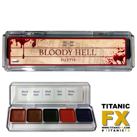 Dashbo FX - The Ultimate Bloody Hell Palette, Paints, Dashbo, Titanic FX, Titanic FX Store, Prosthetic, Makeup, MUA, SFX, FX Makeup, Belfast, UK, Europe, Northern Ireland, NI