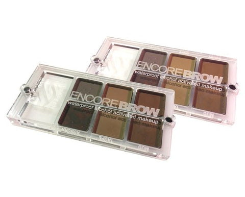 Encore Brow Palette - Water, Sweat & Transfer Resistant  - European Body Art, Paints, European Body Art, Titanic FX, Titanic FX Store, Prosthetic, Makeup, MUA, SFX, FX Makeup, Belfast, UK, Europe, Northern Ireland, NI