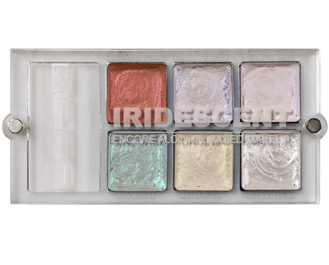 Encore Versa Iridescent Palette - Water, Sweat & Transfer Resistant  - European Body Art, Paints, European Body Art, Titanic FX Store, Titanic FX Store, Prosthetic, Makeup, MUA, SFX, FX Makeup, Belfast, UK, Europe, Northern Ireland, NI