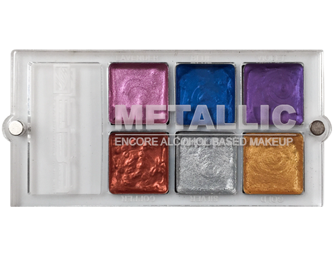 Encore Versa Metallic Palette - Water, Sweat & Transfer Resistant  - European Body Art, Paints, European Body Art, Titanic FX Store, Titanic FX Store, Prosthetic, Makeup, MUA, SFX, FX Makeup, Belfast, UK, Europe, Northern Ireland, NI