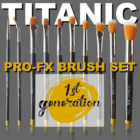 40% off - 1st Generation - Titanic Pro-FX Full Brush Set (Includes Brushes 101 - 110 ), Tools, Titanic FX, Titanic FX, Titanic FX Store, Prosthetic, Makeup, MUA, SFX, FX Makeup, Belfast, UK, Europe, Northern Ireland, NI