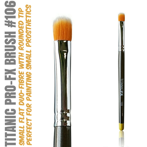 Titanic Pro-FX Brush 106 - Small Flat Duo-Fibre Stipple Brush, Tools, Titanic FX, Titanic FX, Titanic FX Store, Prosthetic, Makeup, MUA, SFX, FX Makeup, Belfast, UK, Europe, Northern Ireland, NI