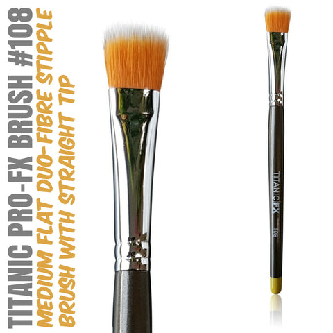 Titanic Pro-FX Brush 108 - Medium Flat Duo-Fibre Stipple Brush, Tools, Titanic FX, Titanic FX, Titanic FX Store, Prosthetic, Makeup, MUA, SFX, FX Makeup, Belfast, UK, Europe, Northern Ireland, NI