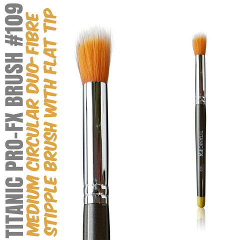 Titanic Pro-FX Brush 109 - Medium Round Duo-Fibre Stipple Brush, Tools, Titanic FX, Titanic FX, Titanic FX Store, Prosthetic, Makeup, MUA, SFX, FX Makeup, Belfast, UK, Europe, Northern Ireland, NI