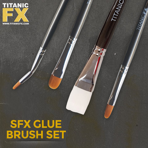 New SFX Adhesive Glue Brush Set (4 Piece) With Zip Lock Bag, Tools, Titanic FX, Titanic FX, Titanic FX Store, Prosthetic, Makeup, MUA, SFX, FX Makeup, Belfast, UK, Europe, Northern Ireland, NI