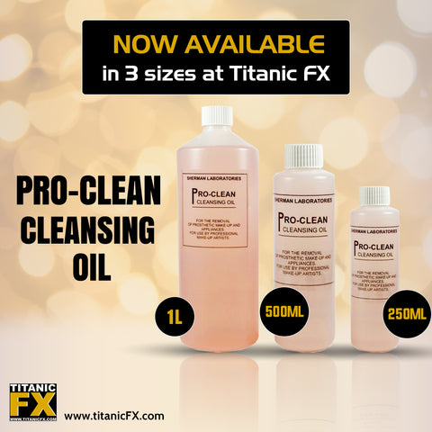 Pro-Clean Cleansing Oil, Remover, Sherman Laboratories, Titanic FX, Titanic FX Store, Prosthetic, Makeup, MUA, SFX, FX Makeup, Belfast, UK, Europe, Northern Ireland, NI