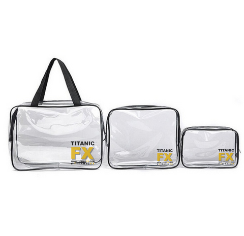 NEW: Set of 3 - Titanic FX Transparent Makeup Kit Bags