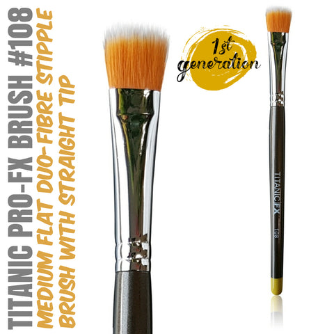 40% OFF - 1st Generation Titanic Pro-FX Brush 108 - Medium Flat Duo-Fibre Stipple Brush, Tools, Titanic FX, Titanic FX, Titanic FX Store, Prosthetic, Makeup, MUA, SFX, FX Makeup, Belfast, UK, Europe, Northern Ireland, NI