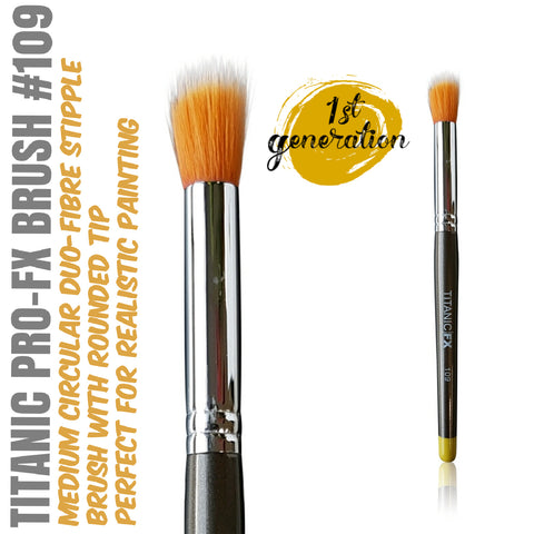 40% OFF - 1st Generation Titanic Pro-FX Brush 109 - Medium Round Duo-Fibre Stipple Brush, Tools, Titanic FX, Titanic FX, Titanic FX Store, Prosthetic, Makeup, MUA, SFX, FX Makeup, Belfast, UK, Europe, Northern Ireland, NI