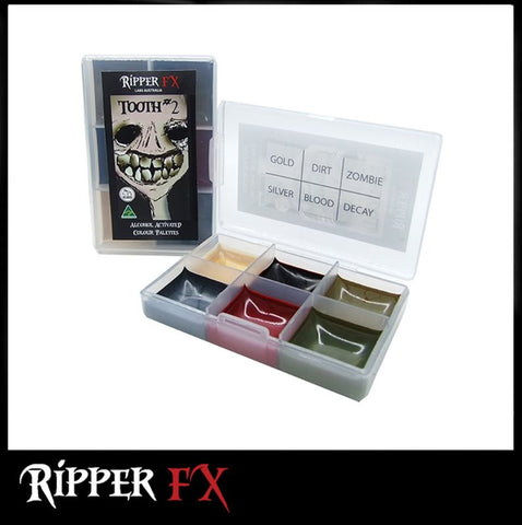 Ripper FX - 'Tooth #2' Mini Pocket Alcohol Palette, Paints, Ripper FX, Titanic FX, Titanic FX Store, Prosthetic, Makeup, MUA, SFX, FX Makeup, Belfast, UK, Europe, Northern Ireland, NI
