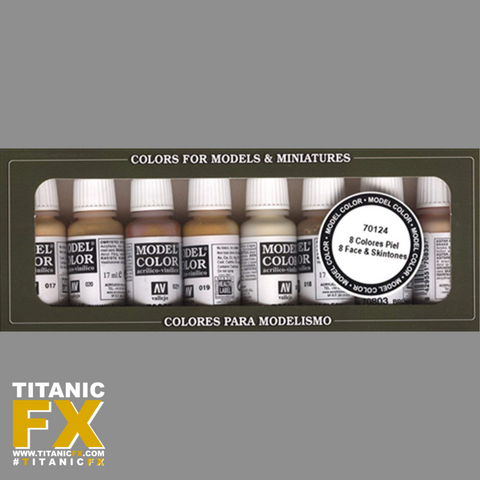 Vallejo Model Color Face Skin Colours Acrylic Paint Set - Assorted Colours (Pack of 8), Paints, Vallejo, Titanic FX, Titanic FX Store, Prosthetic, Makeup, MUA, SFX, FX Makeup, Belfast, UK, Europe, Northern Ireland, NI