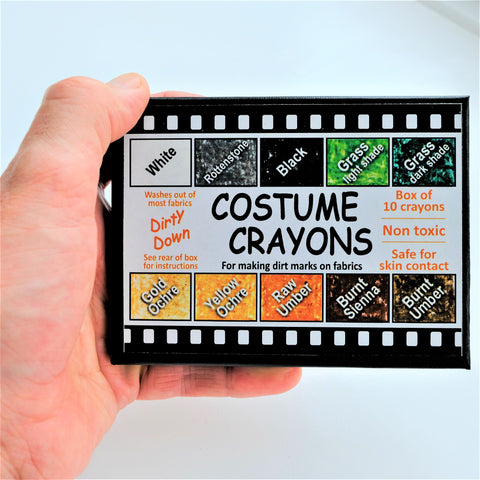 Dirty Down - Costume Ageing Crayons - Box of 10, Ageing Spray, Dirty Down, Titanic FX, Titanic FX Store, Prosthetic, Makeup, MUA, SFX, FX Makeup, Belfast, UK, Europe, Northern Ireland, NI