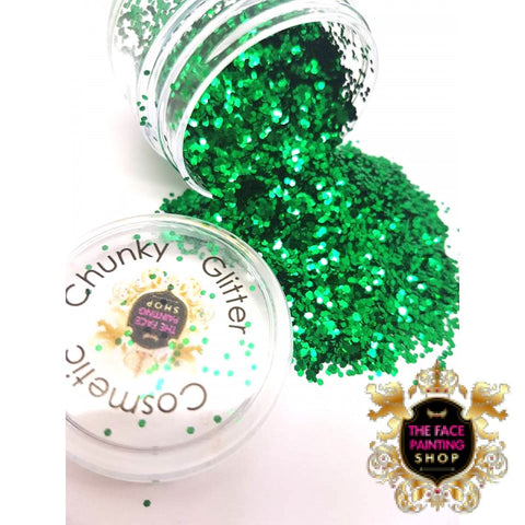 'Emerald Green' Chunky Glitter - The Facepainting Shop, Glitter, The Facepainting Shop, Titanic FX, Titanic FX Store, Prosthetic, Makeup, MUA, SFX, FX Makeup, Belfast, UK, Europe, Northern Ireland, NI