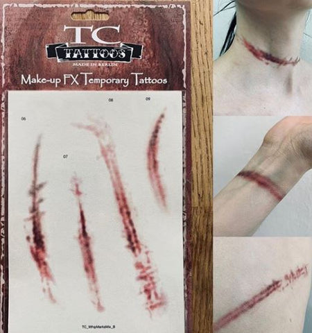Twilight Creations - Temporary Tattoo Transfers - Whip Marks (2), Tattoo Transfers, Twilight Creations, Titanic FX, Titanic FX Store, Prosthetic, Makeup, MUA, SFX, FX Makeup, Belfast, UK, Europe, Northern Ireland, NI