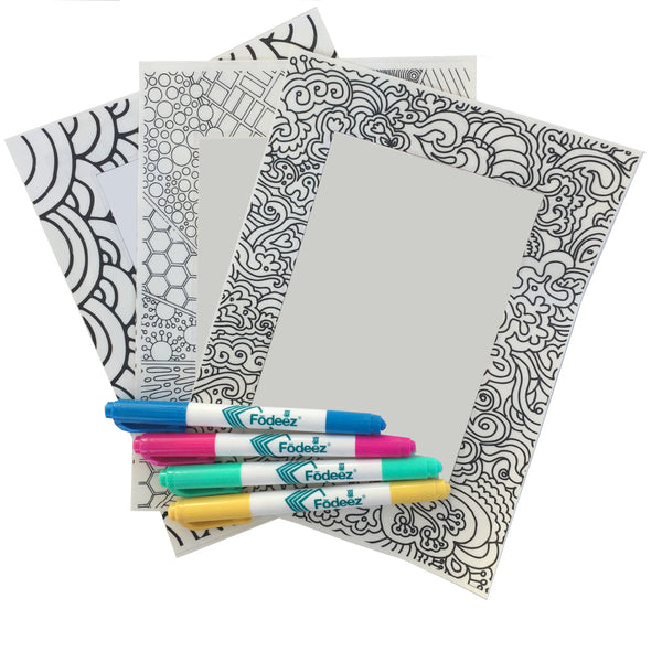 Colorable adhesive picture frames with dry erase markers and dry erase boards for locker decorations for stocking stuffers and party favors