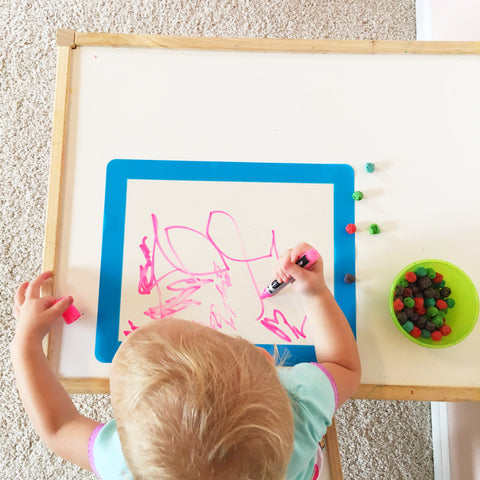 toddler drawing with dry erase marker on adhesive frame for kids artwork non magnetic stainless steel