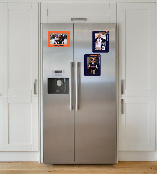 chicago bears peel and stick reusable adhesive picture frame for non-magnetic stainless steel refrigerator